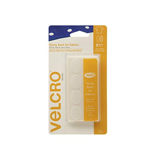 (VELCRO Brand For Fabrics | Permanent Sticky Back Fabric Tape for Alterations and Hemming | Peel and Stick - No Sewing, Gluing, or Ironing | Pre-Cut Ovals, 1 x 3/4 inch, White - 8 Sets)