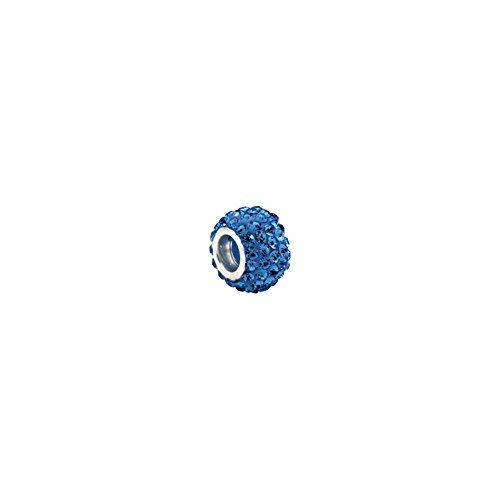 Sterling Silver Kera® Roundel Bead with Pave' Light Sapphire Crystals (Crystal Roundels Light)