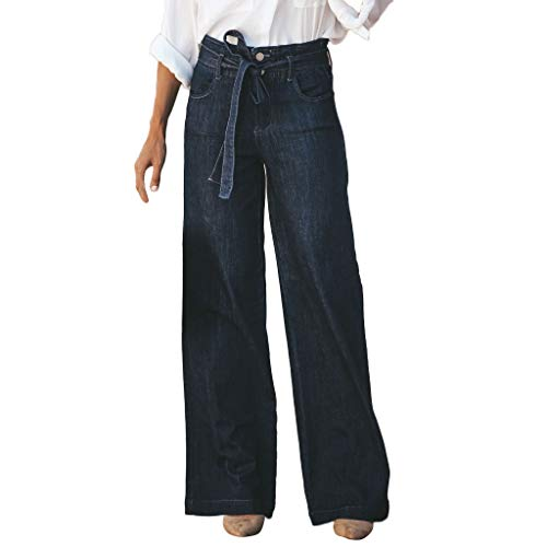 VEZAD Women Hight Waisted Bow Tie Button Hole Denim Jeans Wide Leg Pants Length -