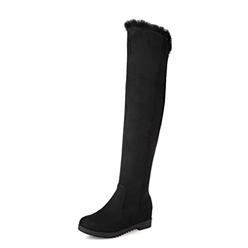 Women's Frosted Solid Closed-Toe Boots With Zippers and Slipping Sole