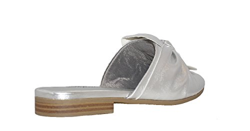 Paprika Damen Goldton Horsebit Hardware Rückenfrei Slip On Loafer Silber Sd