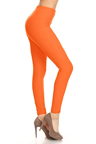 SXL128-Orange Basic Solid Leggings, Plus -