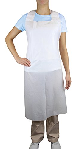 - Disposable PLUS White Polyethylene Waterproof Aprons 28 x 46 inches, Stay Clean and Dry All Day While Cooking, Serving, Painting or Dishwashing. 1.0 Mil Thick for Maximum Durability (100 Pack)