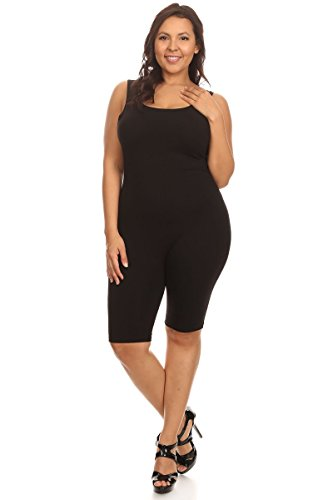Women Sleeveless Stretch Skinny Solid Knee Length Sport Unitard Bodysuits Active (Large, Black_seller) by Stretch Cotton Bodysuit (Image #4)