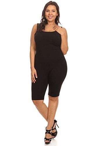 Women Sleeveless Stretch Skinny Solid Knee Length Sport Unitard Bodysuits Active (Large, Black_seller)