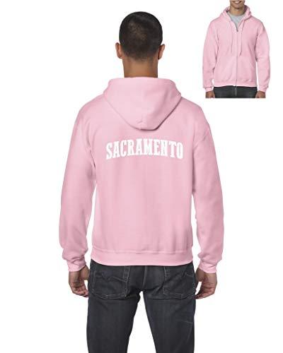 Sacramento City California Traveler Gift Men's Full-Zip Hooded (MAP) Azalea Pink ()