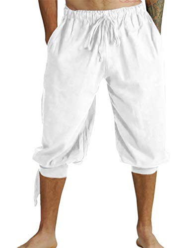 Mens Renaissance Pirate Costume, Medieval Viking Lace Up Knicker Gothic Pants Knee Length Cotton Linen Shorts (XL, White) -