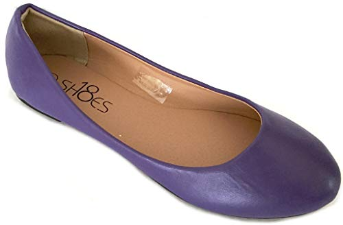 Shoes 18 Womens Classic Round Toe Ballerina Ballet Flat Shoes 8600 Purple 6.5 -