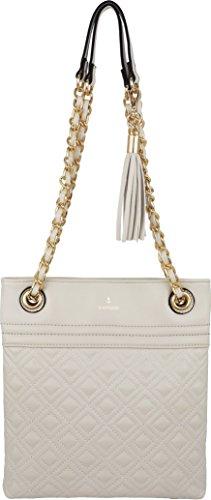 B BRENTANO Vegan Medium Double-Quilt Stitch Crossbody Handbag Purse with Chain Strap & Tassel Accent (Off-White) (Handbag Purse Quilt)