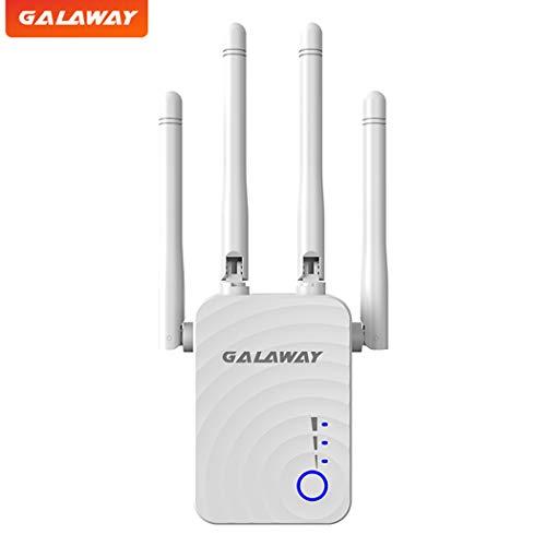 GALAWAY WiFi Range Extender, 1200Mbps WiFi Extender with 4 External Antennas Dual Band Mini Wireless Signal Booster with Ethernet Port WiFi Range Amplifier (Best External Wifi Antenna)