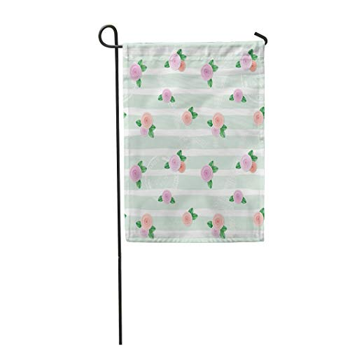 Tarolo Decoration Flag Pink Blossom Floral Eiffel Tower Stamps and Roses on Stripped Collage Cute Cutout Thick Fabric Double Sided Home Garden Flag 12