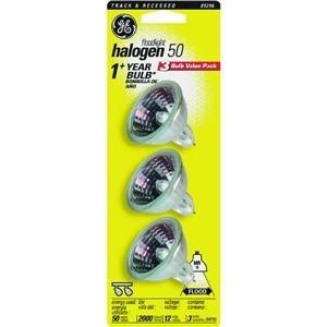 50w Quartz Light - Ge Quartz Halogen Flood Bulb 50 W 1.87 In. C-6 2900 Degrees K Carded 3 Pack