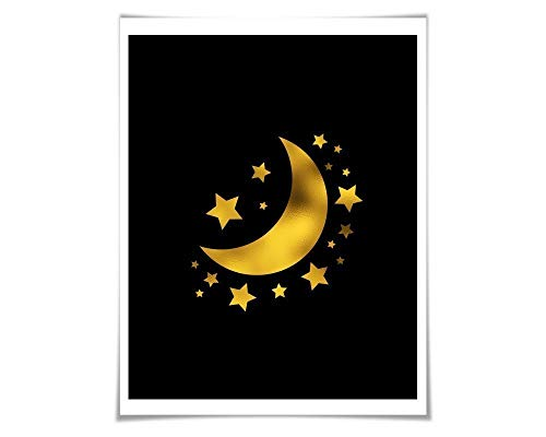 Moon and Stars Gold Foil Art Print. 36 Colours/3 Sizes. Space Poster. Lunar Art. Astronomy. Nature Poster Nursery Art