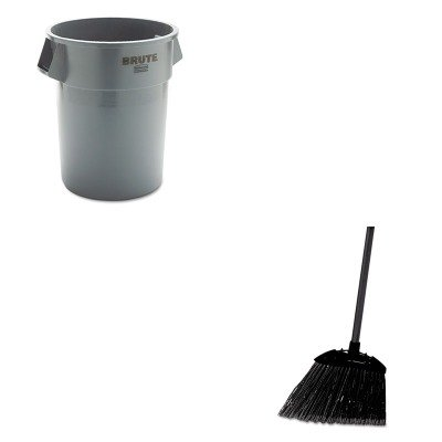 KITRCP265500GYRCP637400BLA - Value Kit - Rubbermaid 2655 BRUTE Container without Lid (RCP265500GY) and Rubbermaid-Black Brute Angled Lobby Broom (RCP637400BLA) by Rubbermaid