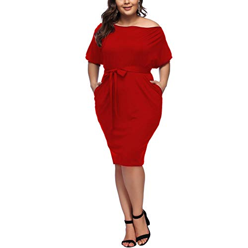 HOOYON Plus Size Dress Women's Off Shoulder Long Sleeve Shiny Bodycon Mini Dress (XL, Red-1)