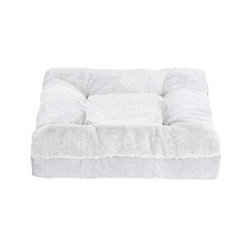 BarksBar Lazy Lounger - Large & Gray - Dual Layered Memory Foam & Orthopedic Foam Dog Bed Luxurious Faux Fur 38 x 38