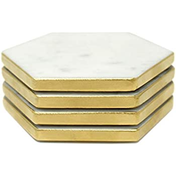 Amazon Com Hexagon Marble Coaster Gold Side Painted Set