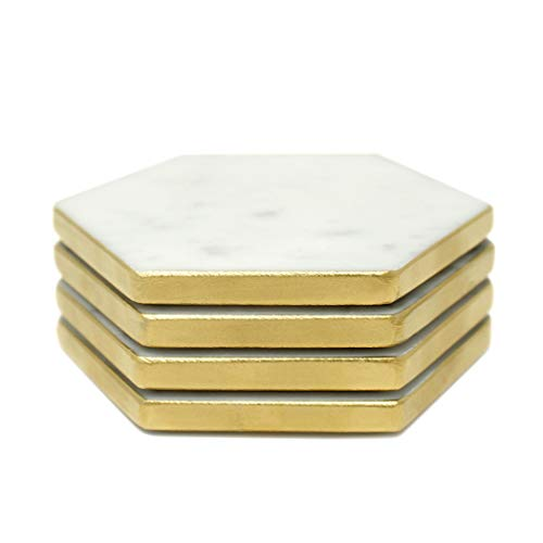 Hexagon Marble Coaster Gold Side Painted Set of 4 Drink Coasters, Bar Coasters or Home Dcor and X-mas gift