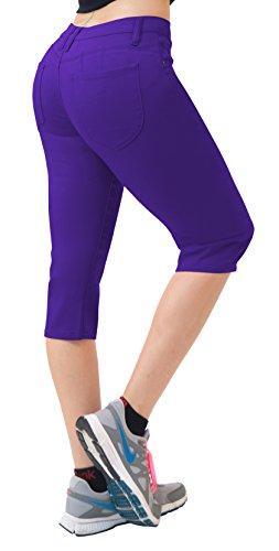 (Super Comfy Stretch Bermuda Shorts Q43308 Purple)