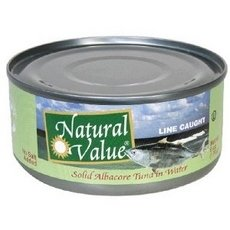Natural Value B22968 Natural Value Albacore Tuna Solid No Salt In Water -24x6oz by Natural Value