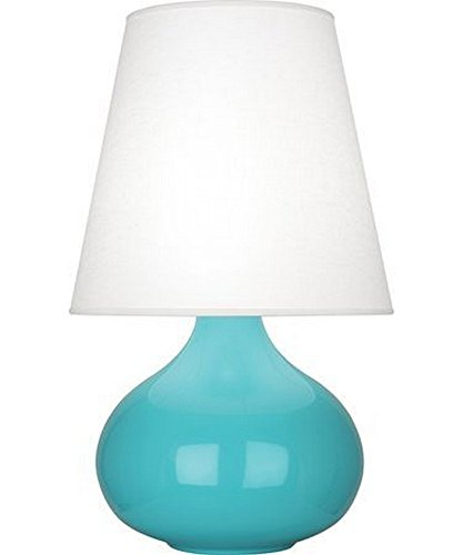 Robert Abbey EB93 June - One Light Accent Lamp, Egg Blue Glazed Finish with Oyster Linen Shade
