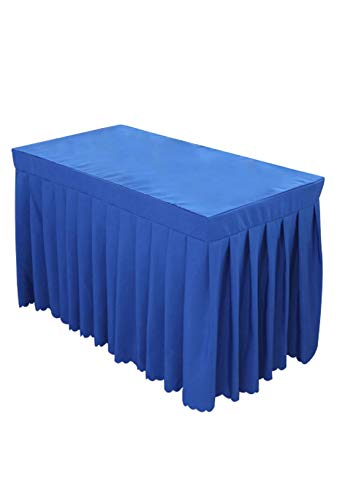 SUNTQ Tablecloth 6' ft Polyester Fitted Tablecloth Sapphire Table Skirt for Party,Wedding,Birthday Party&Home Decoration,Table Skirting,Trade Show (Sapphire, 6' ft(723029in))
