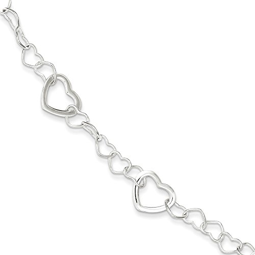 (Nina's Jewelry Box Sterling Silver Polished Fancy Link Heart Bracelet with Lobster Clasp Length 7.5 Inch)