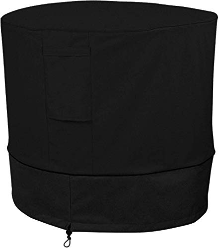 AILELAN Air Conditioner Cover Heavy Duty Large Universal Veranda Winter AC Unit Cover for Standard American Furniture Central Outdoor Vent Full Cover (Round) 34 x 30 inches, Black (Central Air Cover)