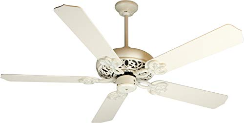 Antique White Ceiling Fan - Craftmade K10615 Protruding Mount, 5 White Blades Ceiling fan with 37 watts light, Antique White Distressed