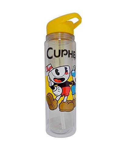 - Cuphead Water Bottle, Cupman and Mugman Double Wall Plastic Water Bottle with Yellow Lid, Set of 1, 16oz