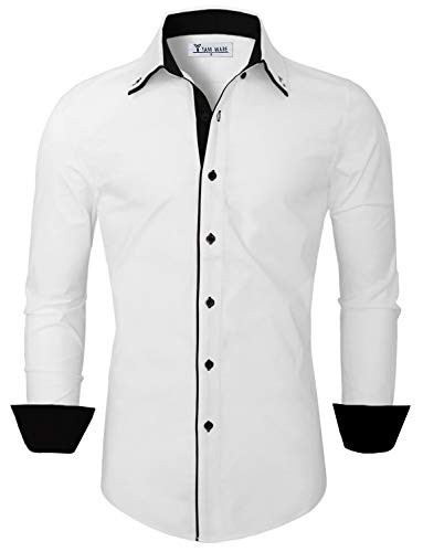 TAM WARE Mens Classic Slim Fit Contrast Inner Long Sleeve Dress Shirts TWNMS314-1-337S-WHITE-US ()