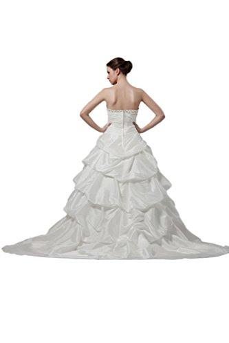 Missdressy Damen Herzform Eelfenbein Brautkleider Hochzeitkleid Ballkleider Steinen Schleppe