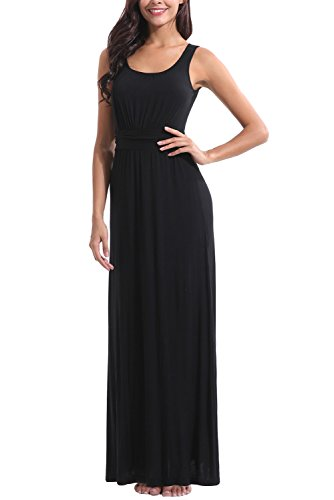 Ruched Jersey Dress - Zattcas Womens Summer Casual Sleeveless Tank Maxi Dress Scoop Neck Empire Vintage Long Dresses (Medium, Black)