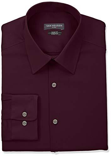 Van Heusen Men's Dress Shirt Slim Fit Flex Collar Stretch Solid, Hearth, 16.5