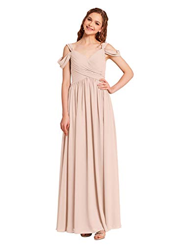 Alicepub V-Neck Chiffon Pearl Pink Bridesmaid Dress for Women Formal Evening Party Prom Dress Long, US14