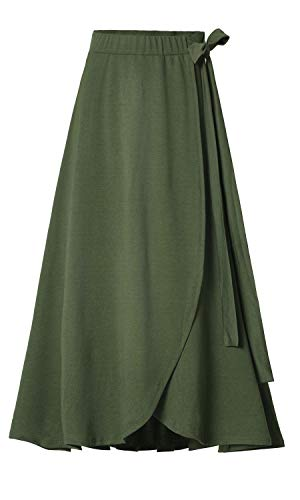 Les umes Womens Fashion Bow-Knot Flare Skirt Elastic High Waist Spring Fall Midi A Line Knit Skirts Navy Green -