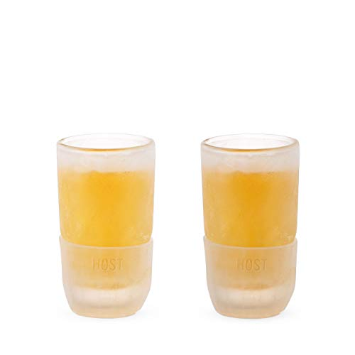 Host 1743 Old Fashioned Cooling Whiskey, Clear Silicone Band 2, Freeze Shot Glasses - Set of 2