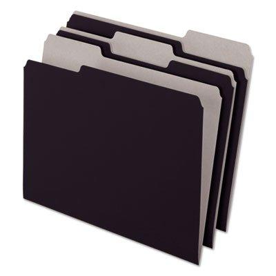 Interior File Folders, 1/3 Cut Top Tab, Letter, Black 100/Box