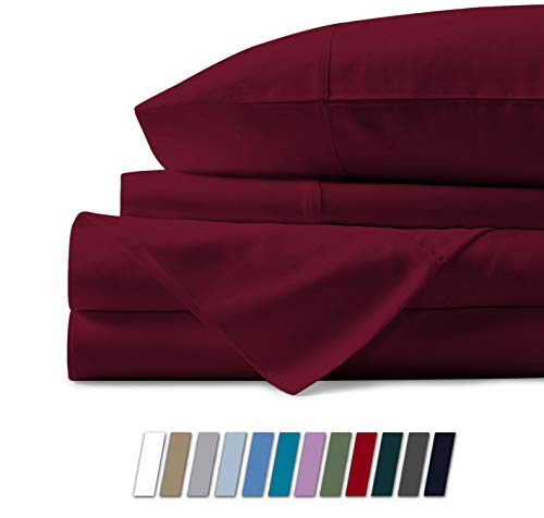 Mayfair Linen 100% Egyptian Cotton Sheets, Burgundy King Sheets Set, 800 Thread Count Long Staple Cotton, Sateen Weave for Soft and Silky Feel, Fits Mattress Upto 18