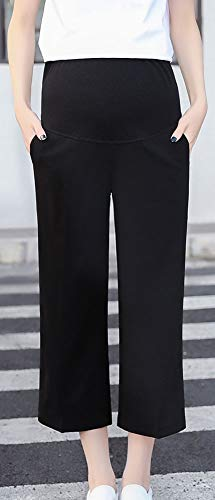 つかまえる引く放つhortensia マタニティ ワイドパンツ 【 黒 L 】 8分丈パンツ ゆったり 大きいサイズ ガウチョパンツ お腹カバー 調整可 カジュアルデイリー オフィス ポケット付き 八分丈 hortensia マタニティ 妊婦 産前産後 ママ レディース