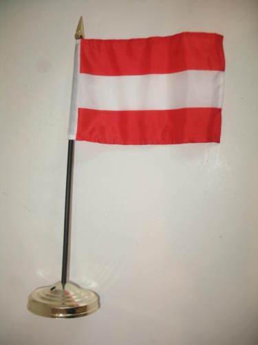 Austria Flag 4''x6'' Desk Set Table Stick Gold Base BEST Garden Outdor Decor polyester material FLAG PREMIUM Vivid Color and UV Fade Resistant by Moon