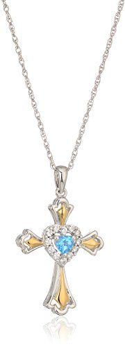 Blue Topaz Lab (Sterling Silver and 14k Yellow Gold Plated Swiss Blue Topaz and Lab Created White Sapphire with Rope Chain Pendant Necklace, 18