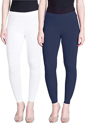 10ed0257296ce LUX LYRA FreeSize Stretchable Ankle Length Cotton White And Navy Blue  Leggings For Womens/Girls/Ladies Pack of 2: Amazon.in: Clothing &  Accessories