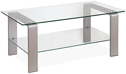 Henn Hart Sleek Nickel and Glass Coffee Table