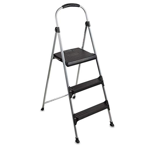 Cosco Three Step Folding Step Stool Ladder with rubber Hand Grips, Lightweight and Easy to Carry, large Flatform Step with Slip Resistant Feet