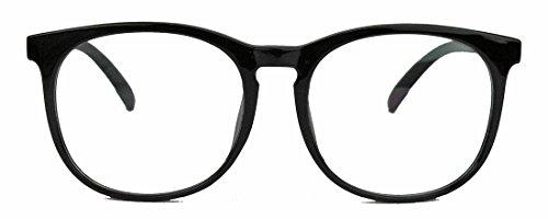 Classic Nerdbrille: große, fast runde Pantobrille filigrane Streberbrille Hornbrille clear lens (Schwarz / Mod.47)