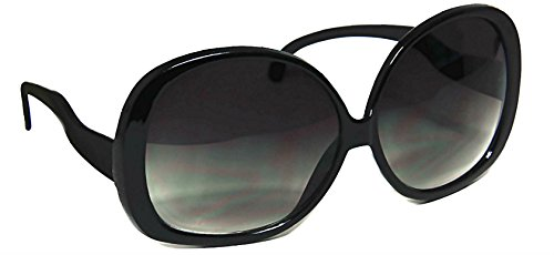 - Women's Designer Style Vintage Oversized Sunglasses-Assorted Brands (XL Black Gloss)