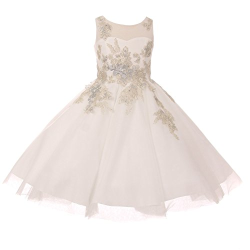 Cinderella Couture Little Girls Ivory Lurex Thread Flower Embroidered Flower Girl Dress 6 by Cinderella Couture