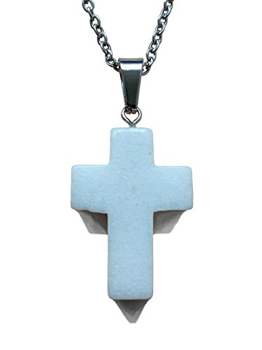 AIMITH Cross Pendant Guard Necklace Natural Healing Onyx Crystal Gemstone Rock Jewelry 18