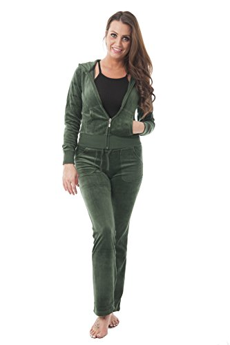 Classic Track Pant - Hollywood Star Fashion Velour Classic Hoodie Sweat Suit Jacket and Pants Set Velvet Tracksuit with Pockets (2XL, Sea Green)